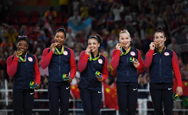 Medalists from the U.S. artistic gymnastics women's team on Day 4 of the Rio 2016 Olympic Games, Aug. 9, 2016. (Photo: Laurence Griffiths/Getty Images)