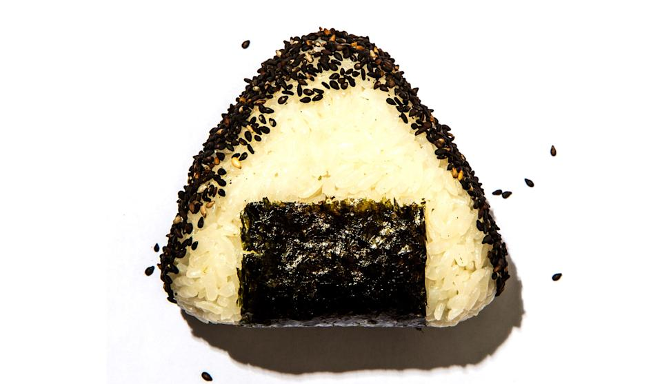 "Make sure to rinse the rice in several changes of water before cooking so that it isn't too gluey. <a href=""https://www.bonappetit.com/recipe/onigiri?mbid=synd_yahoo_rss"" rel=""nofollow noopener"" target=""_blank"" data-ylk=""slk:See recipe."" class=""link rapid-noclick-resp"">See recipe.</a>"