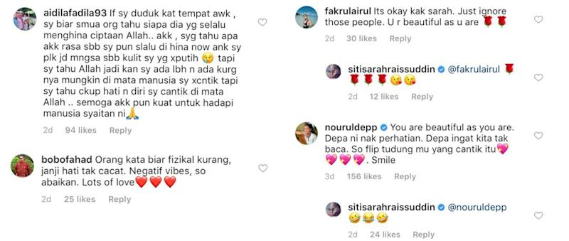 Social media users send in messages of love and support for Siti Sarah. — Picture via Instagram