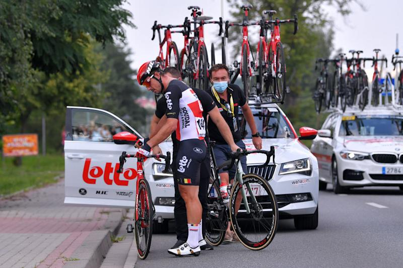 John Degenkolb of Team Lotto Soudal got assistance from his team mechanic on stage 2