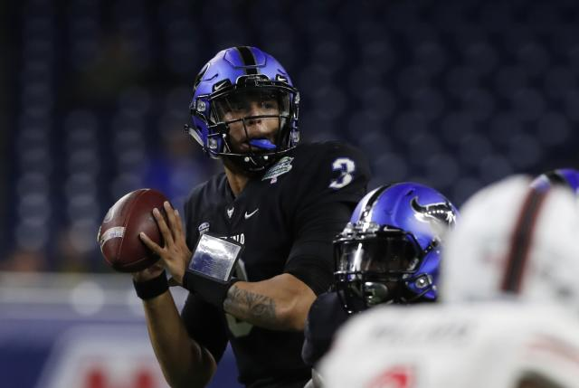 Quarterback Tyree Jackson faded late in the season for Buffalo. (AP)