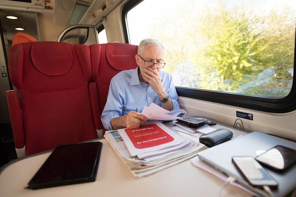 Labour leader, Jeremy Corbyn takes the train back to London after visiting Nottingham where he saw an 'eco bus' run by Nottingham City Transport � the city�s municipal bus company.