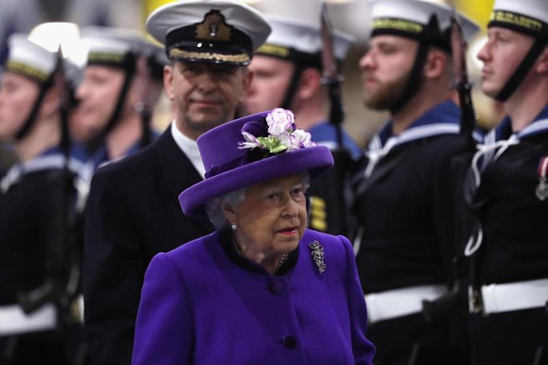 Queen Elizabeth attends the Commissioning Ceremony of HMS Queen Elizabeth in Portsmouth (Getty Images)