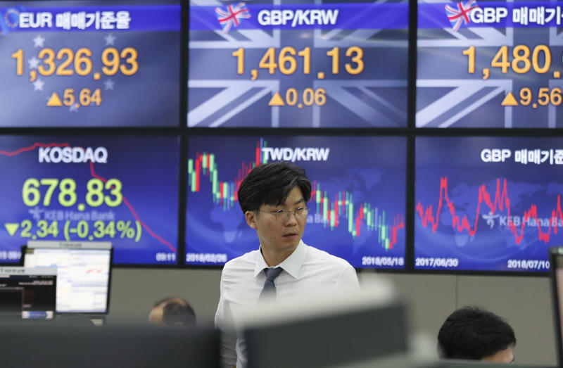 A currency trader watches monitors at the foreign exchange dealing room of the KEB Hana Bank headquarters in Seoul, South Korea, Monday, July 15, 2019. Shares are mixed in Asia, led by gains in Chinese markets after the government reported that the economy grew at the slowest pace in a decade in the last quarter. (AP Photo/Ahn Young-joon)