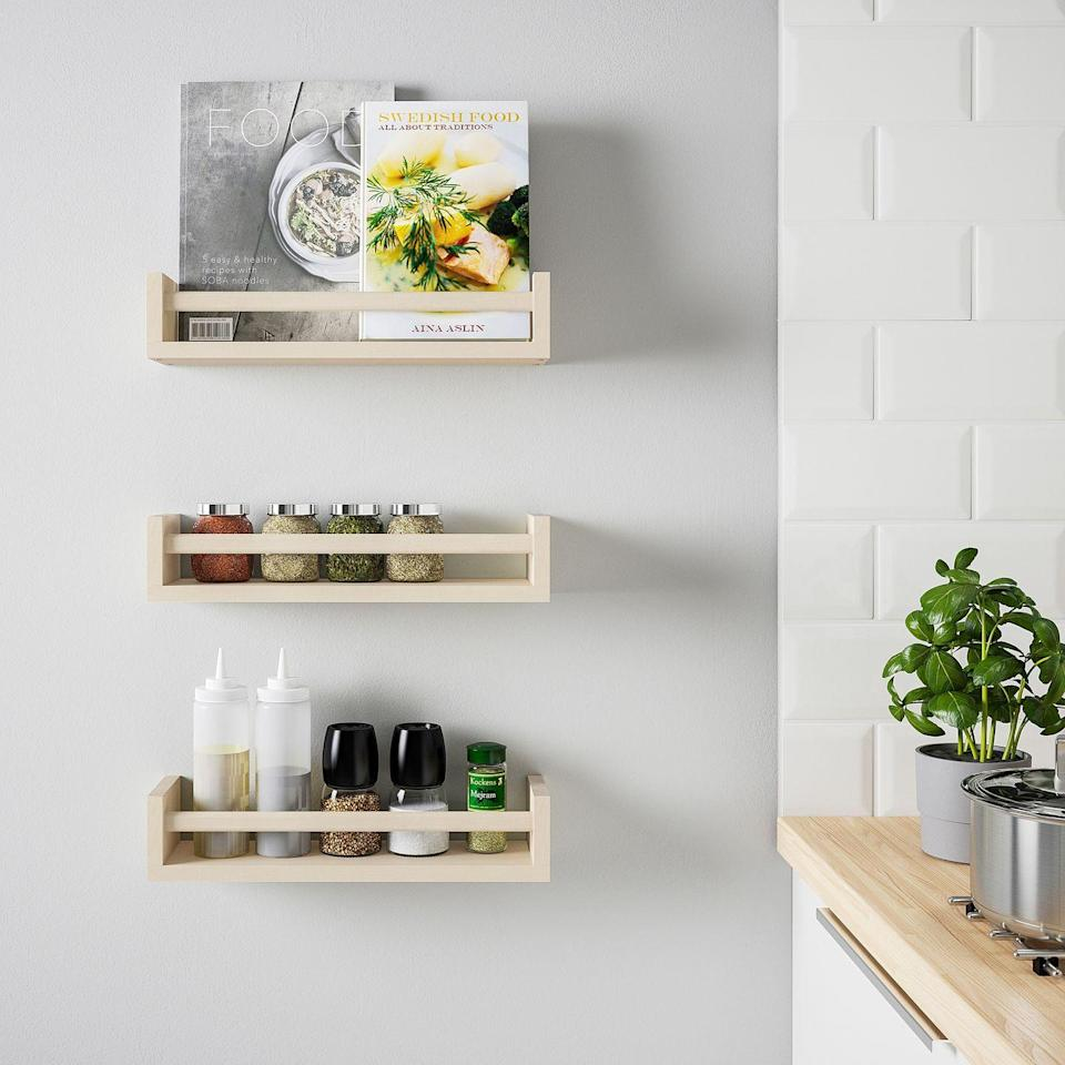 """<p>The space that usually holds your coriander is big enough for a few essentials, like sunglasses, and decor, like magazines and books. Add five hooks to the front, and you can hang keys there, too.</p><p>Get a tutorial at <a href=""""http://www.ikeahackers.net/2014/10/key-racksunglass-shelf-2.html"""" rel=""""nofollow noopener"""" target=""""_blank"""" data-ylk=""""slk:IKEA Hackers"""" class=""""link rapid-noclick-resp"""">IKEA Hackers</a>.</p><p><a class=""""link rapid-noclick-resp"""" href=""""https://go.redirectingat.com?id=74968X1596630&url=https%3A%2F%2Fwww.ikea.com%2Fus%2Fen%2Fp%2Fbekvaem-spice-rack-aspen-20487175%2F&sref=https%3A%2F%2Fwww.countryliving.com%2Fhome-maintenance%2Fg37186772%2Fentryway-ikea-hacks%2F"""" rel=""""nofollow noopener"""" target=""""_blank"""" data-ylk=""""slk:BUY NOW"""">BUY NOW</a> <strong><em>Spice Rack, $5</em></strong></p>"""