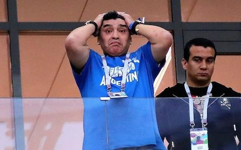 Diego Maradona cries as Argentina go down to Croatia - Credit: Chris Brunskill/Fantasista