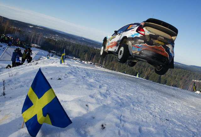 Norway's Mads Ostberg and Sweden's co-driver Jonas Andersson compete with their Ford Fiesta RS WRC during the WRC Rally of Sweden on Febuary 12, 2012 in Hagfors north of Karlstad. AFP PHOTO/JONATHAN NACKSTRAND (Photo credit should read JONATHAN NACKSTRAND/AFP/Getty Images)