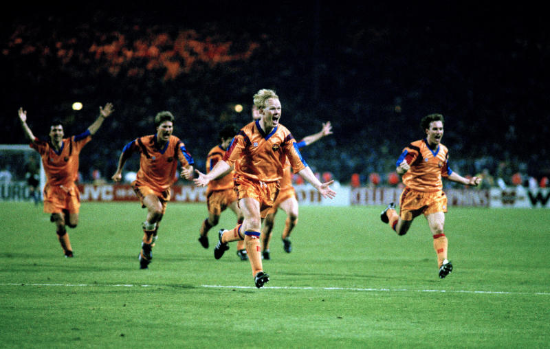 20 May 1992 Wembley European Cup Final Barcelona v Sampdoria - Ronald Koeman of Barcelona celebrates after scoring the winning goal. (Photo by Mark Leech/Getty Images)