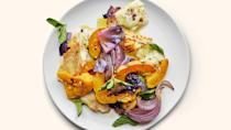 "All you need is a bowl and a baking sheet to achieve this salad of creamy squash, crispy pita chips, and chewy, charred cheese. Fresh mint and a hint of vinegar keep things bright. <a href=""https://www.epicurious.com/recipes/food/views/warm-winter-vegetable-salad-with-halloumi?mbid=synd_yahoo_rss"" rel=""nofollow noopener"" target=""_blank"" data-ylk=""slk:See recipe."" class=""link rapid-noclick-resp"">See recipe.</a>"