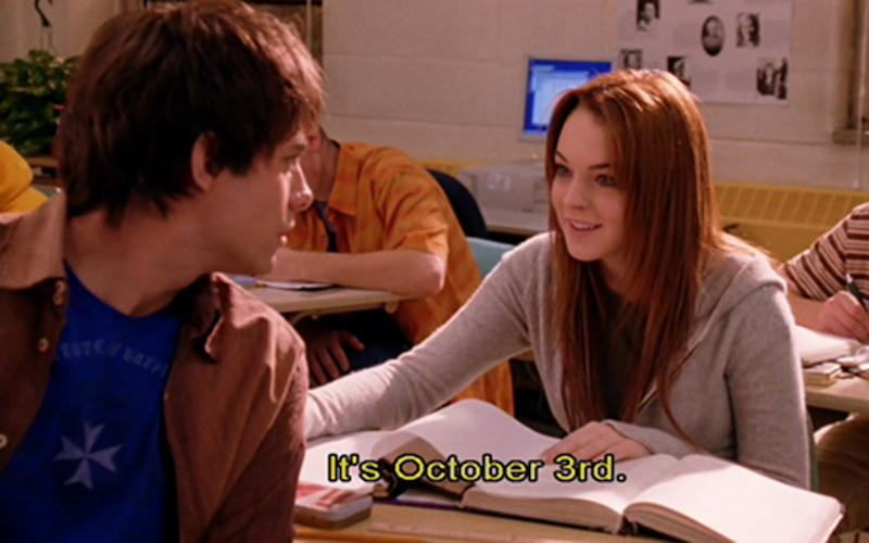 """On October 3rd, he asked me what day it was…"" / ""It's October 3rd."""