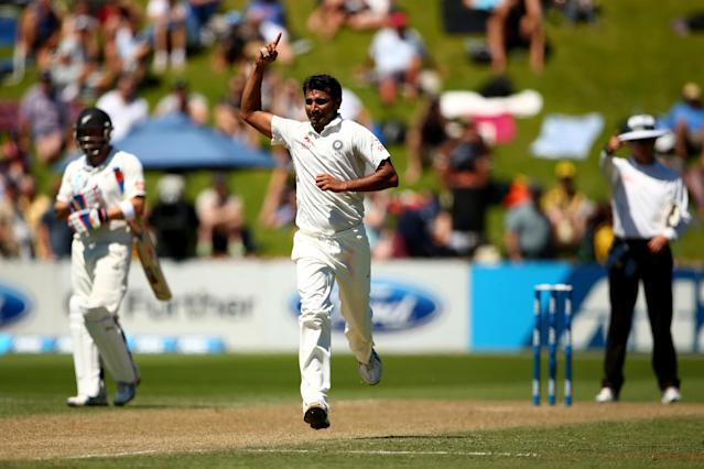WELLINGTON, NEW ZEALAND - FEBRUARY 16: Mohammed Shami of India celebrates his wicket of Tom Latham of New Zealand during day three of the 2nd Test match between New Zealand and India at the Basin Reserve on February 16, 2014 in Wellington, New Zealand. (Photo by Phil Walter/Getty Images)