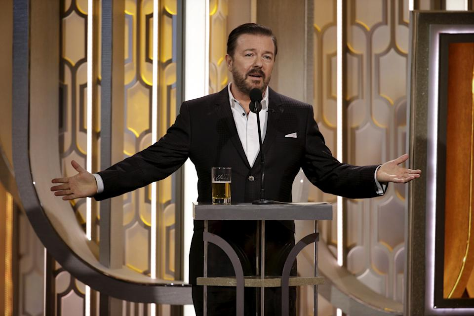 Ricky Gervais hosts the 73rd Golden Globe Awards in Beverly Hills, California, January 10, 2016.  REUTERS/Paul Drinkwater/NBC Universal/Handout For editorial use only. Additional clearance required for commercial or promotional use. Contact your local office for assistance. Any commercial or promotional use of NBCUniversal content requires NBCUniversal's prior written consent. No book publishing without prior approval.