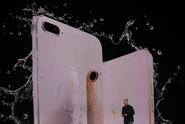 <p>The iPhone 8 and 8 Plus are also water resistant. (Photo by Justin Sullivan/Getty Images) </p>