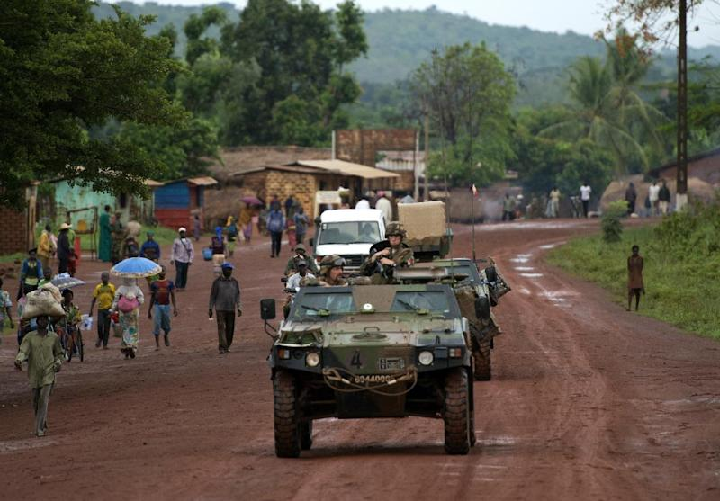 A convoy of French troops, part of the Sangaris forces, patrol in Bambari, Central African Republic, on April 16, 2014