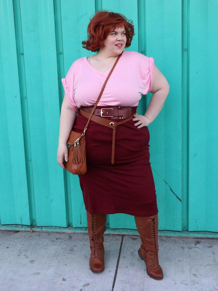 "<p>Channel your inner Molly Ringwald in a costume that'll seriously impress anyone who <a rel=""nofollow"" href=""https://www.womansday.com/style/g22646261/best-80s-costumes/"">grew up in the '80s</a>.</p><p><strong>Get the tutorial at <a rel=""nofollow"" href=""http://www.vintageortacky.com/2016/11/17/11350/"">Vintage or Tacky</a>.</strong></p><p><strong>What you'll need: </strong>light pink t-shirt ($5; <a rel=""nofollow"" href=""https://www.amazon.com/Just-My-Size-Womens-Heather/dp/B018454X4Q/"">amazon.com</a>), brown midi skirt ($19; <a rel=""nofollow"" href=""https://www.amazon.com/Stretch-Comfort-Womens-Skirt-Brown/dp/B0753LPJ99/"">amazon.com</a>), brown belt ($9; <a rel=""nofollow"" href=""https://www.amazon.com/TUNGHO-Simplicity-Leather-Belts-Women/dp/B07DDBPT1Q/"">amazon.com</a>), brown knee-high boots ($25; <a rel=""nofollow"" href=""https://www.amazon.com/dp/B00QVJXC8Q/"">amazon.com</a>), brown cross-body bag ($26; <a rel=""nofollow"" href=""https://www.amazon.com/Vintage-Satchel-Crossbody-Shoulder-Adjustable/dp/B07BHC4Q2S"">amazon.com</a>)</p>"