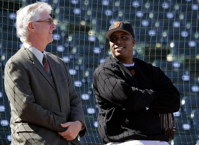 Giants broadcaster Mike Krukow (left) stands with Barry Bonds before a game in 2006. (AP)