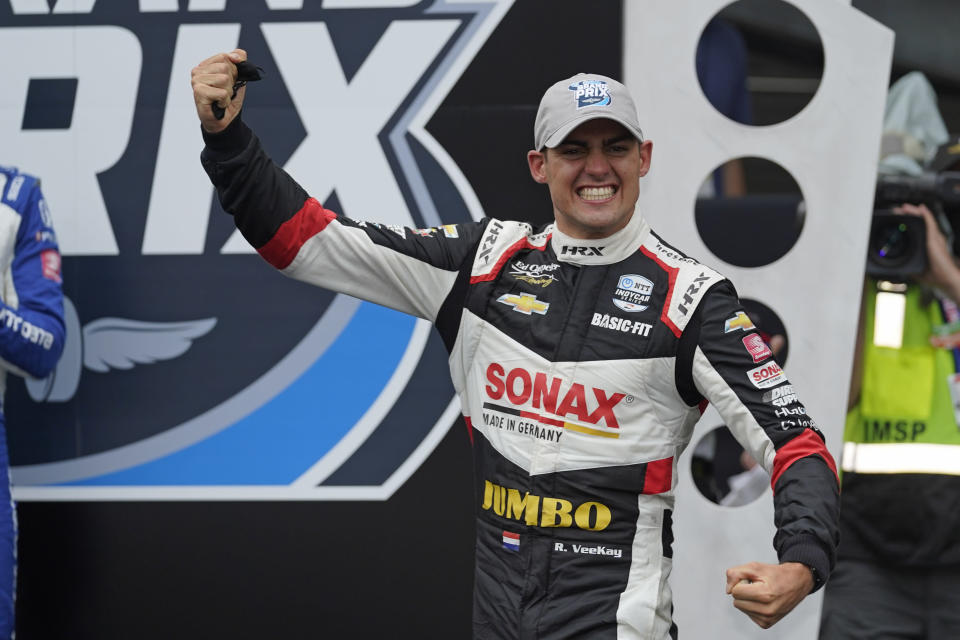 Rinus VeeKay, of the Netherlands, reacts after winning the IndyCar auto race at Indianapolis Motor Speedway, Saturday, May 15, 2021, in Indianapolis. (AP Photo/Darron Cummings)