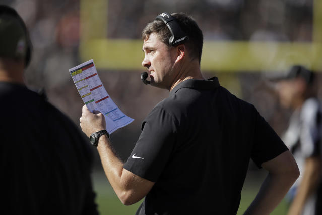 Cincinnati Bengals head coach Zac Taylor stands on the sidelines during the first half of an NFL football game against the Oakland Raiders in Oakland, Calif., Sunday, Nov. 17, 2019. (AP Photo/Ben Margot)