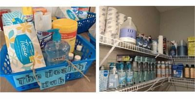 An ample supply of disinfectants and sanitizers in an Amerigo campus