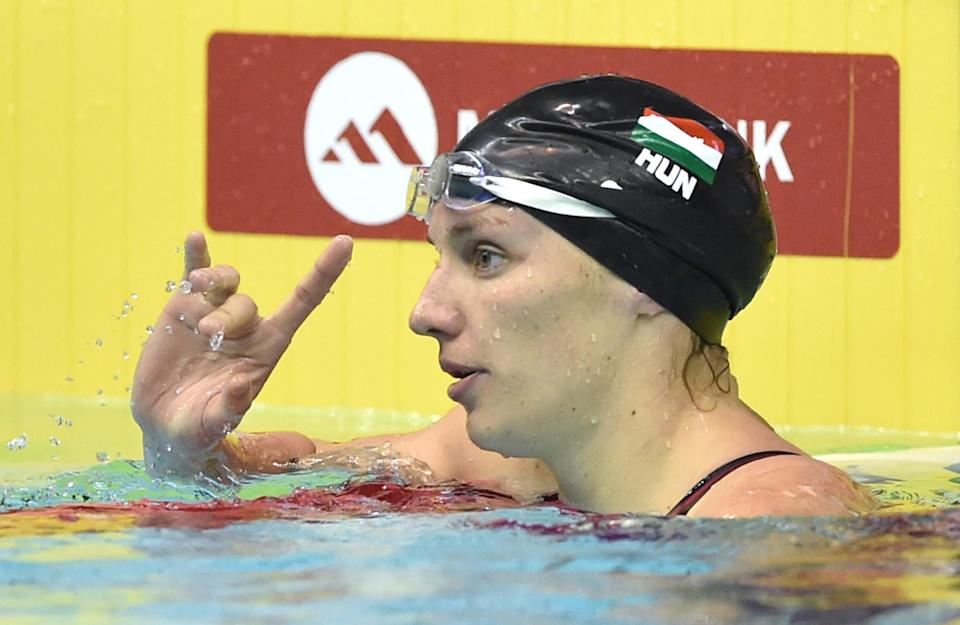 Hungary's Katinka Hosszu after competing in the women's 100m individual medley final at the Swimming World Cup short-course series in Tokyo on October 29, 2014 (AFP Photo/Kazuhiro Nogi)