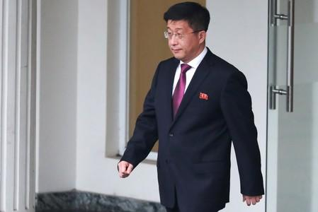 Kim Hyok Chol, North Korea's special representative for U.S. affairs, leaves the Government Guesthouse in Hanoi