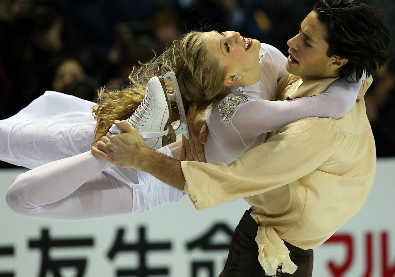 LONDON, CANADA - MARCH 16:  Kaitlyn Weaver (L) and Andrew Poje of Canada skate in the Ice Dance Free Dance Program during the 2013 ISU World Figure Skating Championships at Budweiser Gardens on March 16, 2013 in London, Ontario, Canada.  (Photo by Dave Sandford/Getty Images)