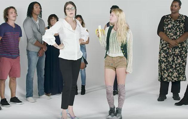 The blonde girl ate a banana to help the volunteers make up their minds. Photo: Youtube