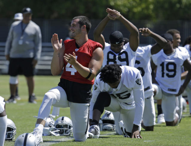 "Derek Carr called the situation between the Raiders and Oakland ""a weird deal."" (AP)"