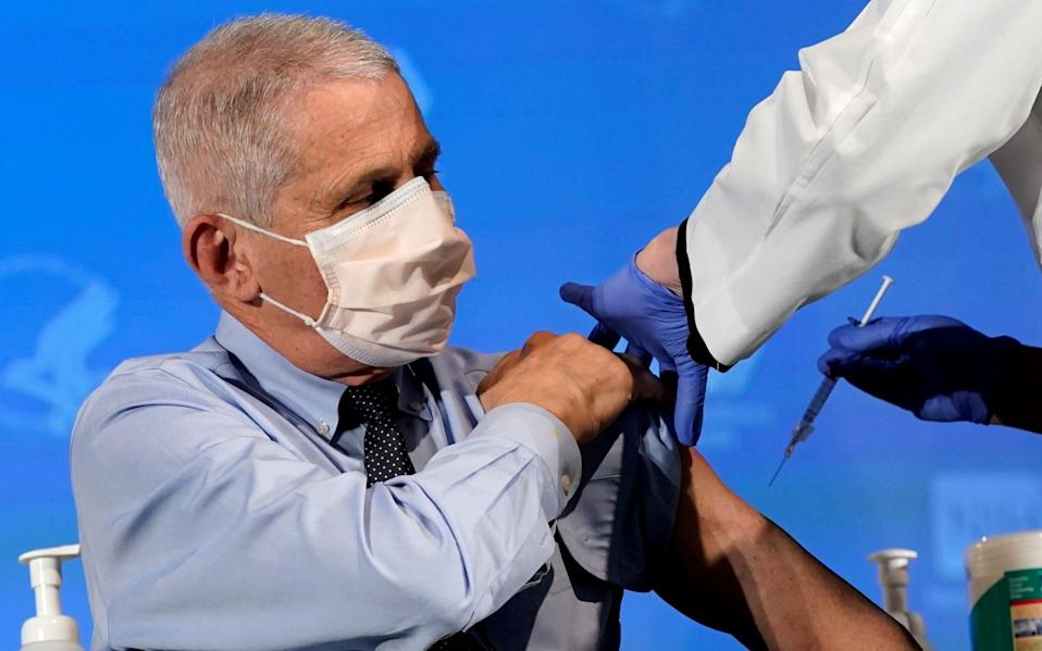 Dr. Anthony Fauci prepares to receive his first dose of the new Moderna COVID-19 vaccine - Patrick Semansky/Pool via REUTERS