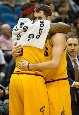 Kevin Love and LeBron James show everyone that everything's fine. (Brace Hemmelgarn-USA TODAY Sports)