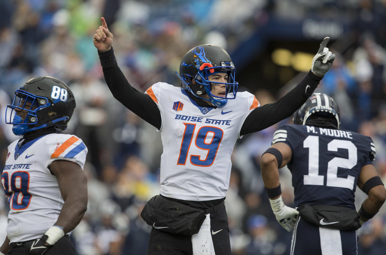 PROVO, UT -  OCTOBER 9: Hank Bachmeier #19 of the Boise State Broncos celebrates a touchdown against  the BYU Cougars during their game October 9, 2021 at LaVell Edwards Stadium in Provo, Utah. (Photo by Chris Gardner/Getty Images)