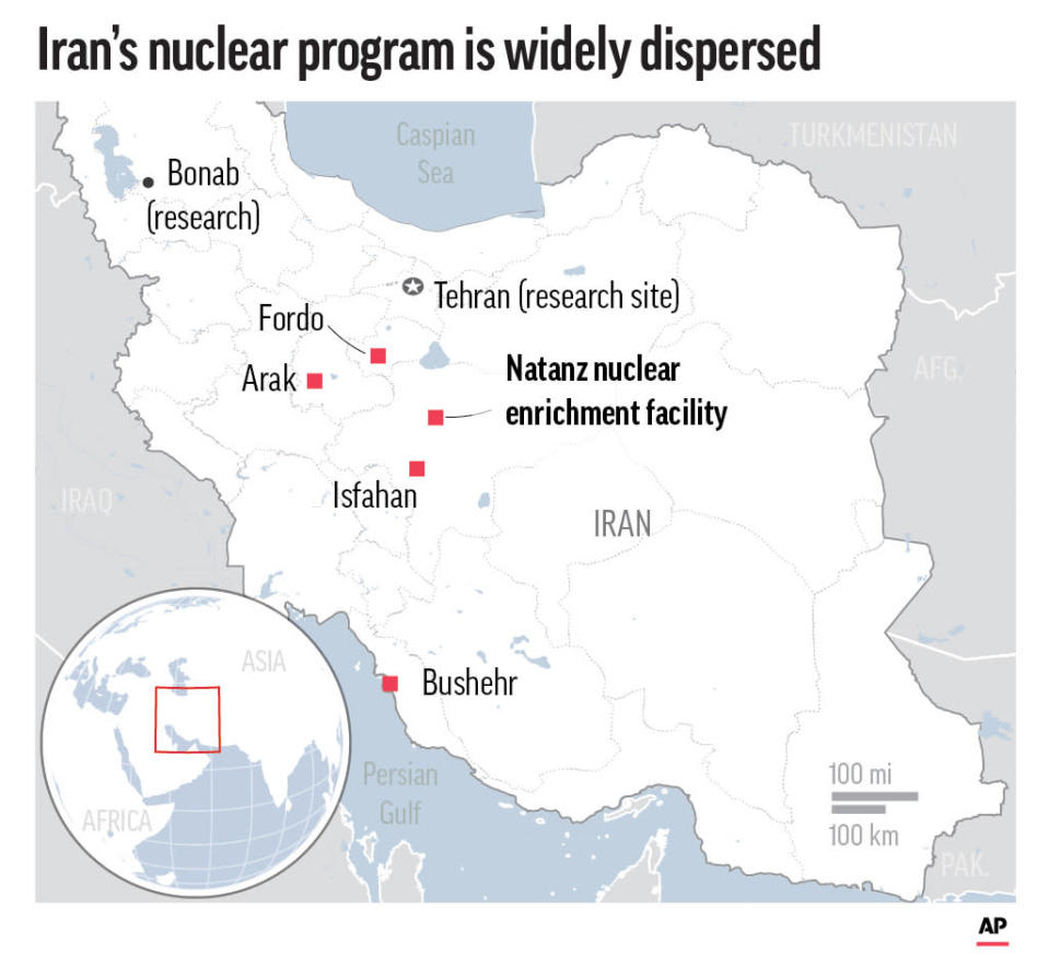 Nuclear enrichment sites and research centers.