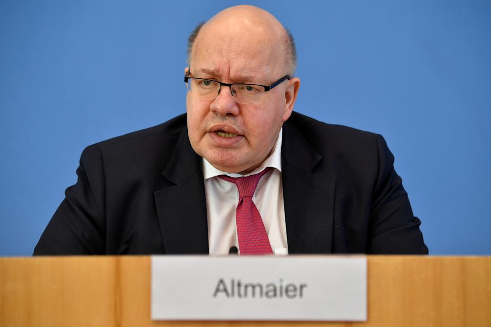 German Economy Minister Peter Altmaier addresses a press conference to present the government's economic spring projection in Berlin, Germany, April 27, 2021. John Macdougall/Pool via REUTERS