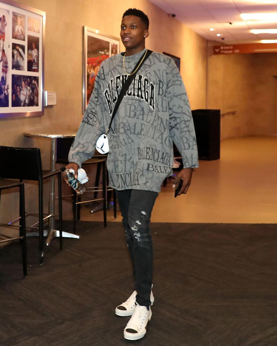 """<h1 class=""""title"""">November 11: Frank Ntilikina</h1> <div class=""""caption""""> Frank Ntilikina's #BigFitoftheDay is the best thing to happen to the Knicks this season. </div> <cite class=""""credit"""">Nathaniel S. Butler / Getty Images</cite>"""