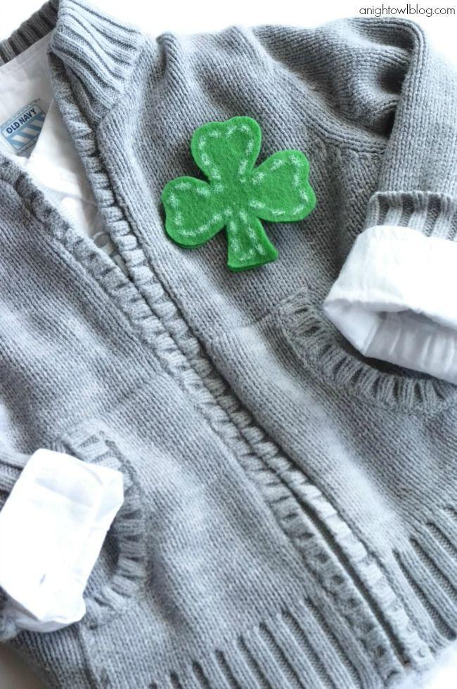 """<p>Why dig through your closet trying to find green apparel when you can make this cute no-sew pin in a few moments?</p><p><strong>Get the tutorial at <a href=""""https://www.anightowlblog.com/sew-shamrock-pin/"""" rel=""""nofollow noopener"""" target=""""_blank"""" data-ylk=""""slk:A Night Owl"""" class=""""link rapid-noclick-resp"""">A Night Owl</a>.</strong></p><p><a class=""""link rapid-noclick-resp"""" href=""""https://www.amazon.com/Craft-scissors/s?k=Craft+scissors&tag=syn-yahoo-20&ascsubtag=%5Bartid%7C2164.g.35012898%5Bsrc%7Cyahoo-us"""" rel=""""nofollow noopener"""" target=""""_blank"""" data-ylk=""""slk:SHOP SCISSORS"""">SHOP SCISSORS</a><br></p>"""