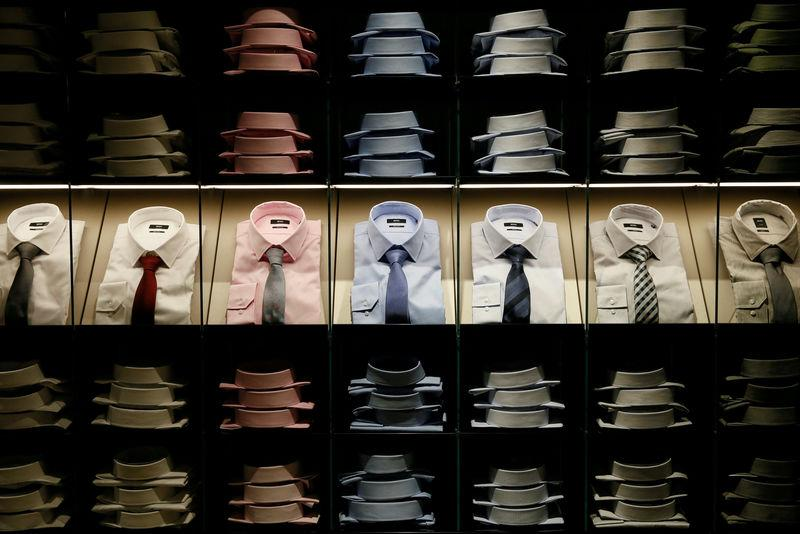 FILE PHOTO: Shirts and ties are on display in the Hugo Boss section in the Central Universal Department Store in Kiev