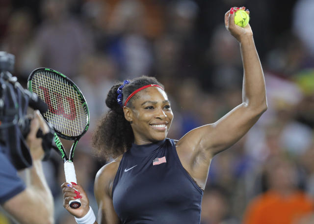 "U.S. tennis star <a class=""link rapid-noclick-resp"" href=""/olympics/rio-2016/a/1132744/"" data-ylk=""slk:Serena Williams"">Serena Williams</a> treated a group of young girls to a private screening of ""Black Panther."" (AP Photo/Vadim Ghirda, File)"