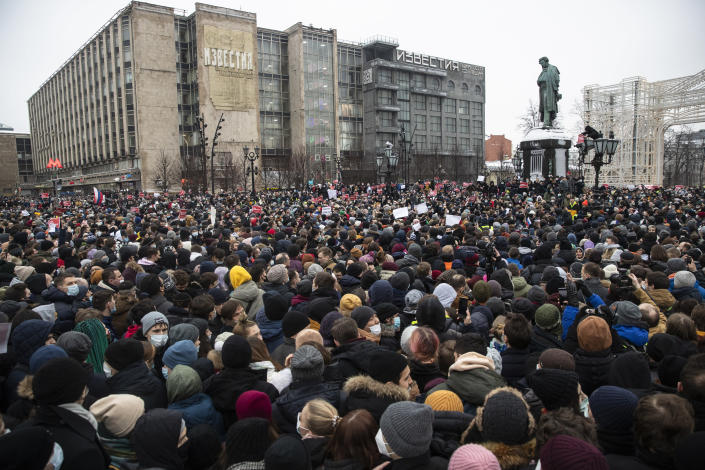 People gather in Pushkin Square during a protest against the jailing of opposition leader Alexei Navalny in Moscow, Russia, Saturday, Jan. 23, 2021. Russian police on Saturday arrested hundreds of protesters who took to the streets in temperatures as low as minus-50 C (minus-58 F) to demand the release of Alexei Navalny, the country's top opposition figure. (AP Photo/Pavel Golovkin)