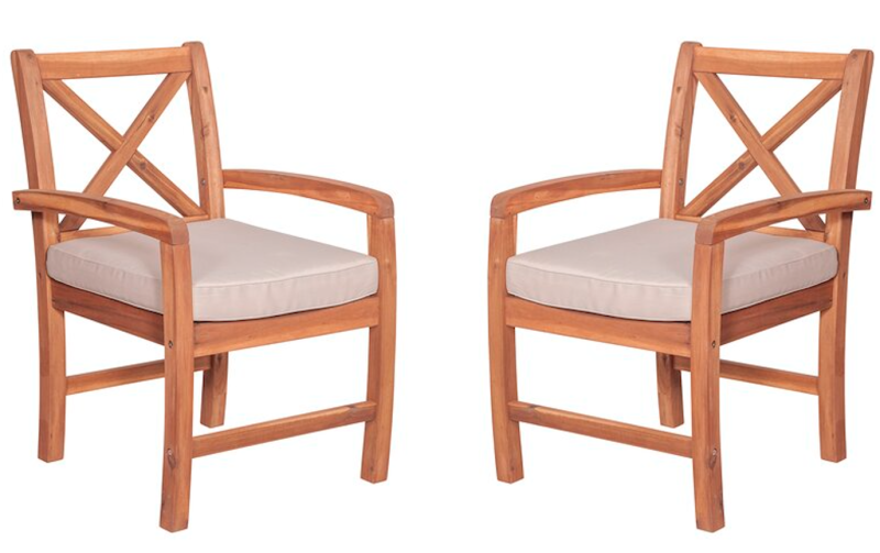 Shaftesbury X-Back Acacia Patio Chairs with Cushions (Photo: Wayfair)