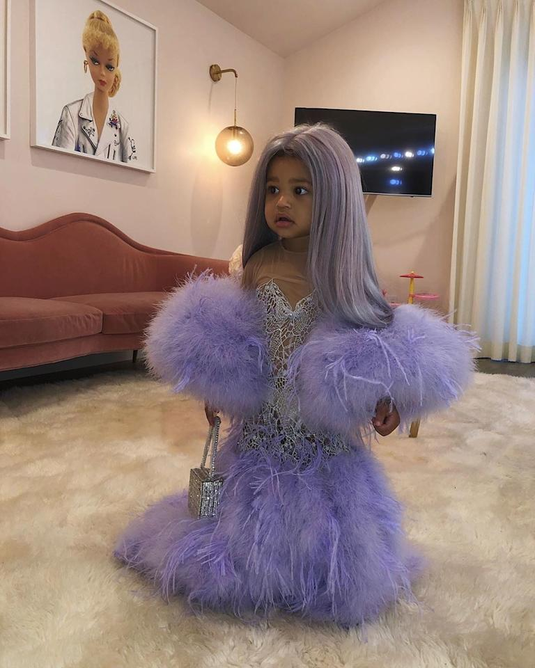 """Stormi Webster <a href=""""https://www.wmagazine.com/story/stormi-kylie-jenner-halloween-met-gala?mbid=synd_yahoo_rss"""">dressed as Kylie Jenner</a> wearing Versace at the 2019 Met Gala, October 2019."""
