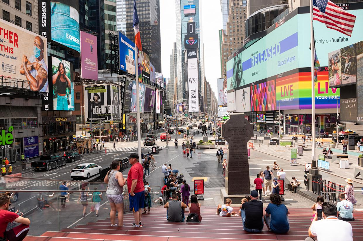 Times Square. On May 19, all pandemic restrictions, including mask mandates, social distancing guidelines and venue capacities, were lifted by New York Gov. Andrew Cuomo. (Noam Galai/Getty Images)