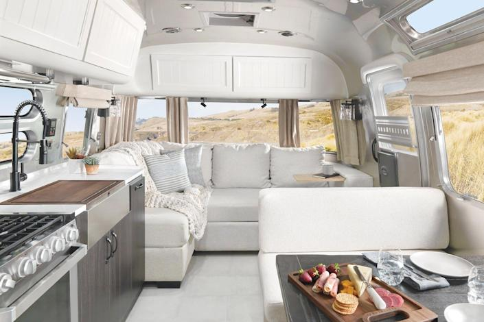 airstream trailer interior with couch