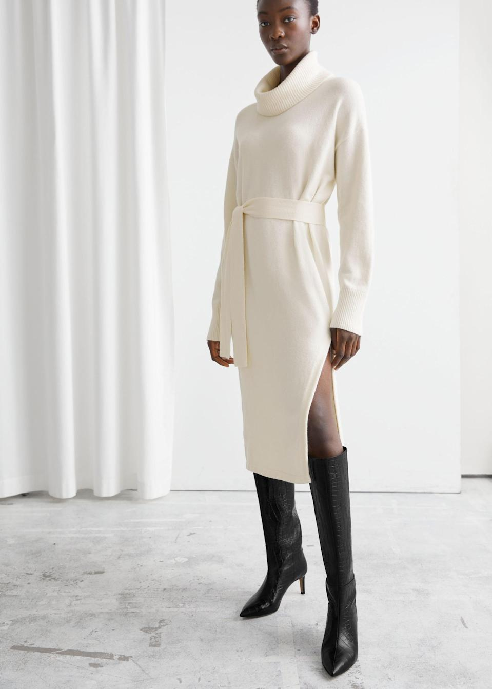 <p>Who doesn't love a good neutral <span>Relaxed Belted Turtleneck Midi Dress</span> ($83, originally $119)?</p>
