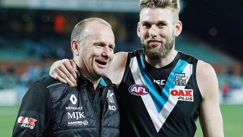 Ken Hinkley and Jackson Trengove in happier times. Pic: Getty