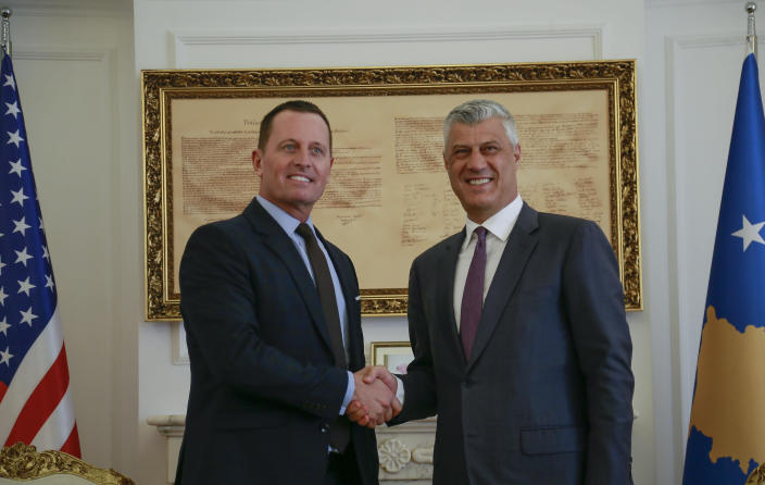 Hashim Thaci, right, with Richard Grenell