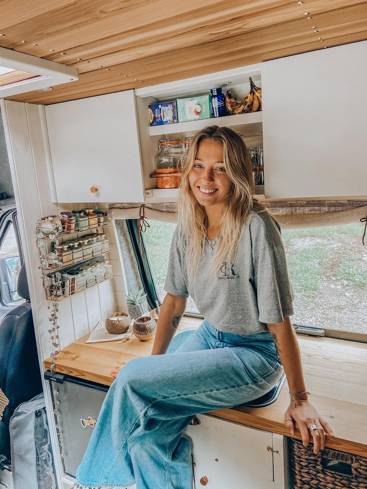 Hatti Webster in the finished van. (@thecampercreative)