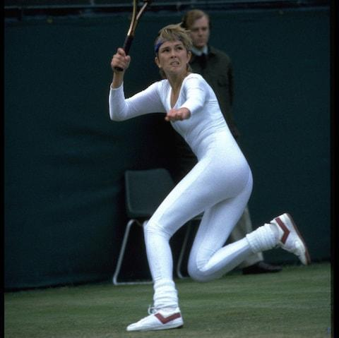 <span>Anne White at Wimbledon in 1985</span> <span>Credit: Getty Images </span>