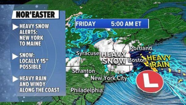PHOTO: A Nor'easter is bringing heavy snow from upstate New York into New England, where a winter storm warning and winter weather advisory have been issued. (ABC News)