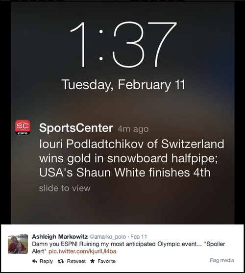 SportsCenter notification about Olympics news