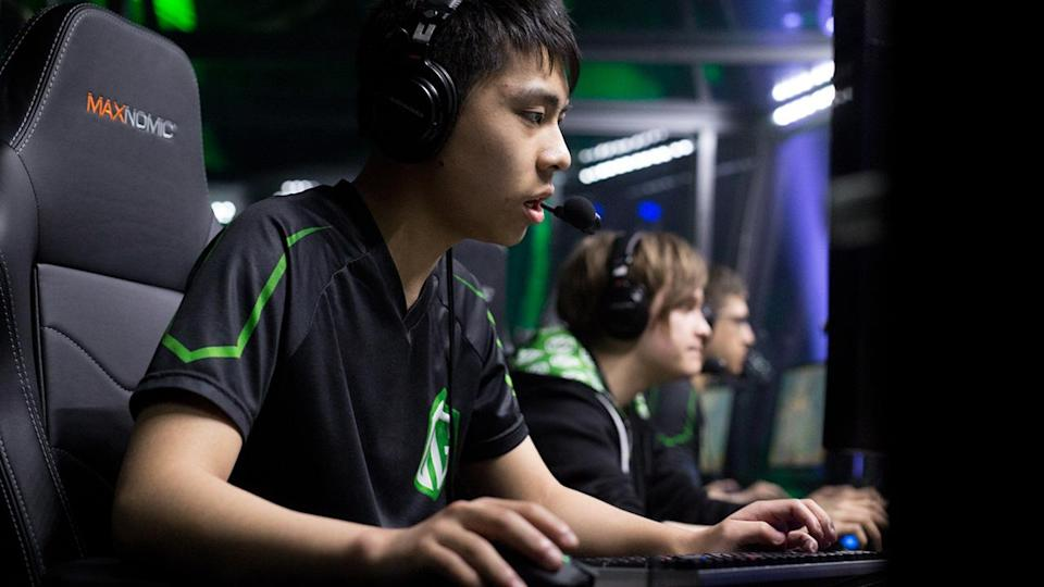 Anathan Pham competes in the finals during the Boston Major Dota 2 tournament in 2016. (JUSTIN SAGLIO/AFP/Getty Images)